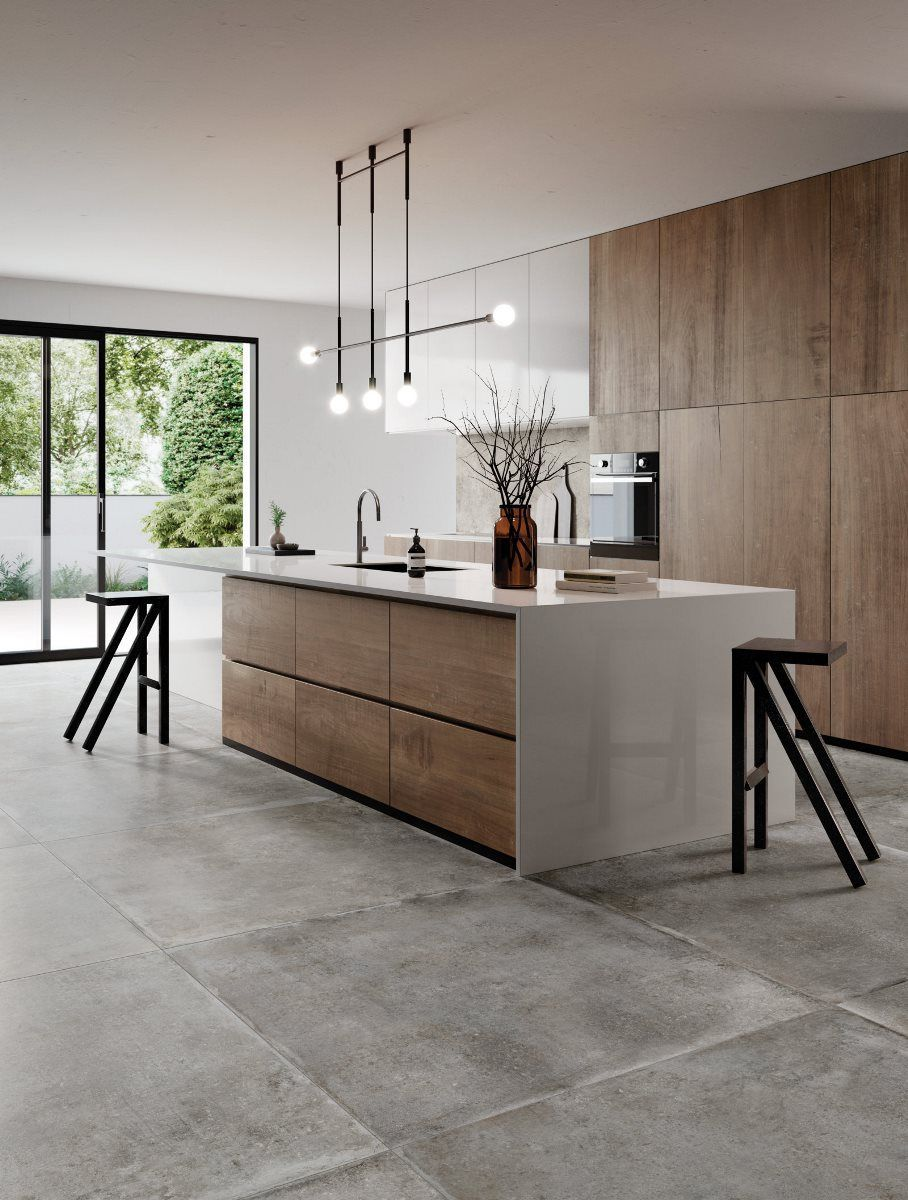 Gemutlich Kochen Betonoptik Gemutlich Kochen In 2020 Haus Kuchen Kuche Betonoptik Kuche Holz Modern