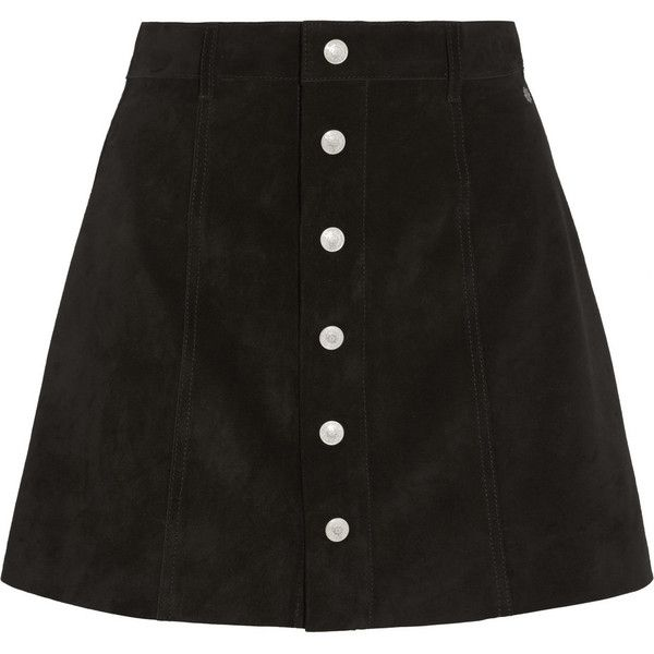 Alexa Chung For AG Jeans The Gove suede mini skirt (1.975 DKK) ❤ liked on Polyvore featuring skirts, mini skirts, bottoms, saias, black, ag adriano goldschmied, short skirts, a-line skirt, suede leather skirt and button front skirt