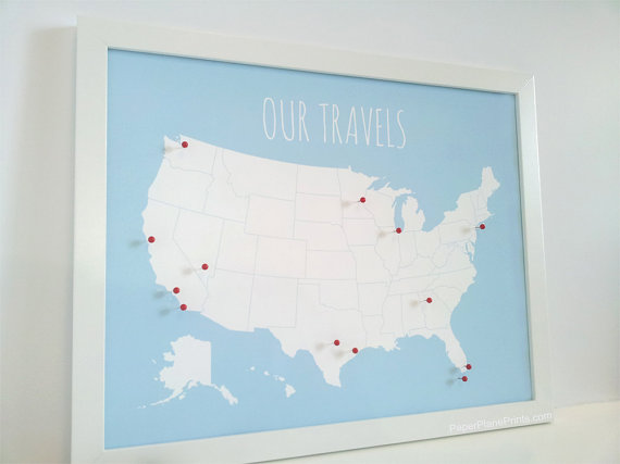 Travel Map Pin Board Usa Pinnable Map Diy Kit With Pins Red Or