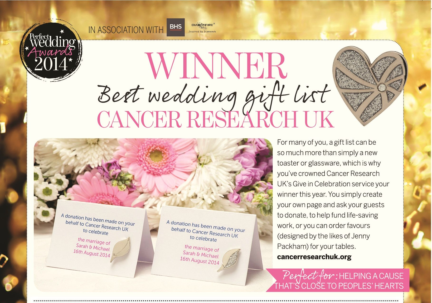 Cancer Research Uk Winners Of Best Wedding Gift List At The Perfect Awards