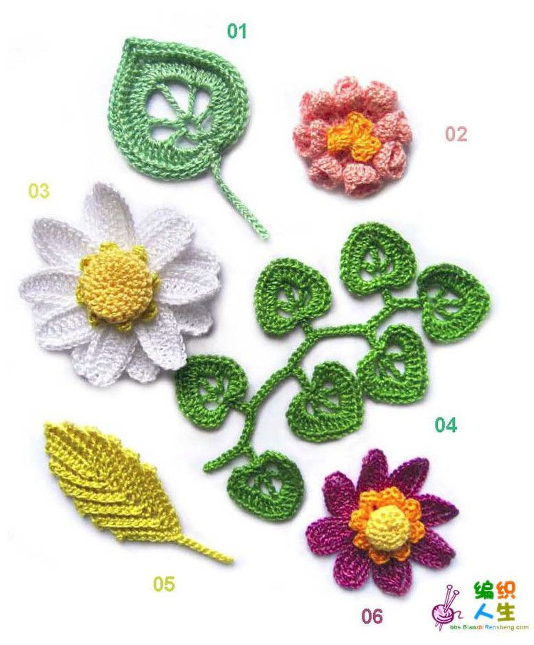 Many beautiful flower patterns with charts. | flores crochet ...