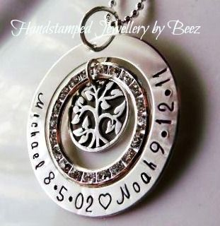 Sterling Silver Diamonte and Tiny Family Tree Pendant - Hand Stamped By Beez $64 (traditional font & . not ♡) - Got It!!!!!