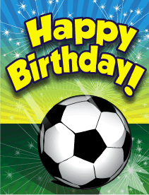 This birthday card features a soccer ball, and prints on 8.5x11