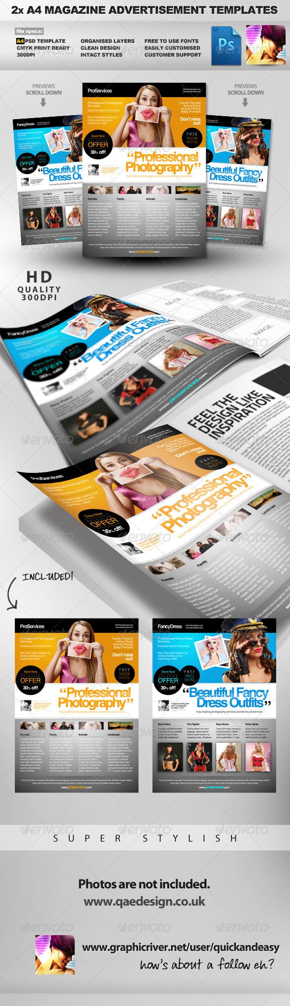 pro services 2 a4 magazine ad templates by quickandeasy a4