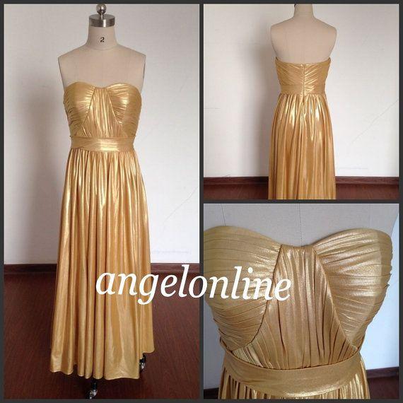 Gold Prom Dresses.Strapless Prom Dresses.Cheap Prom Dresses.Prom Dresses 2015.Long Prom Dresses.Formal Dresses.Elegant Evening Dresses Cheap