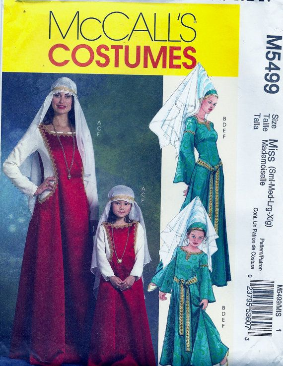 Medieval Gown, Lady in Waiting, Maid Marian, Costume Pattern by ...