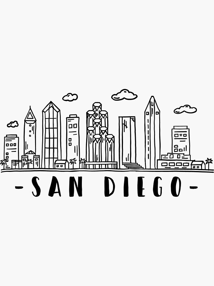 San Diego Skyline Travel Sticker By Duxdesign In 2020 San Diego Skyline San Diego Art Travel Stickers