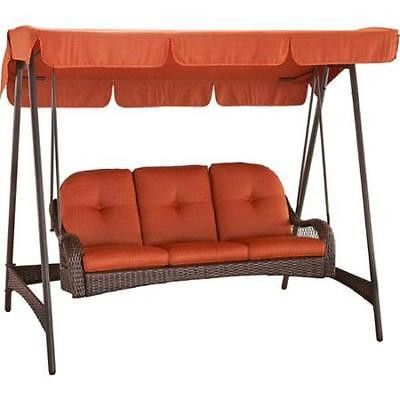 Wicker Porch Swing With Canopy Cover 3 Person Orange Cushion Patio Outdoor Seat