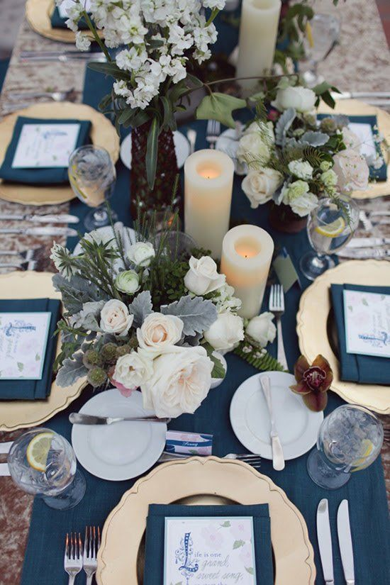 Elegant navy, cream and gold wedding centrepiece | Brandon Kidd via ...