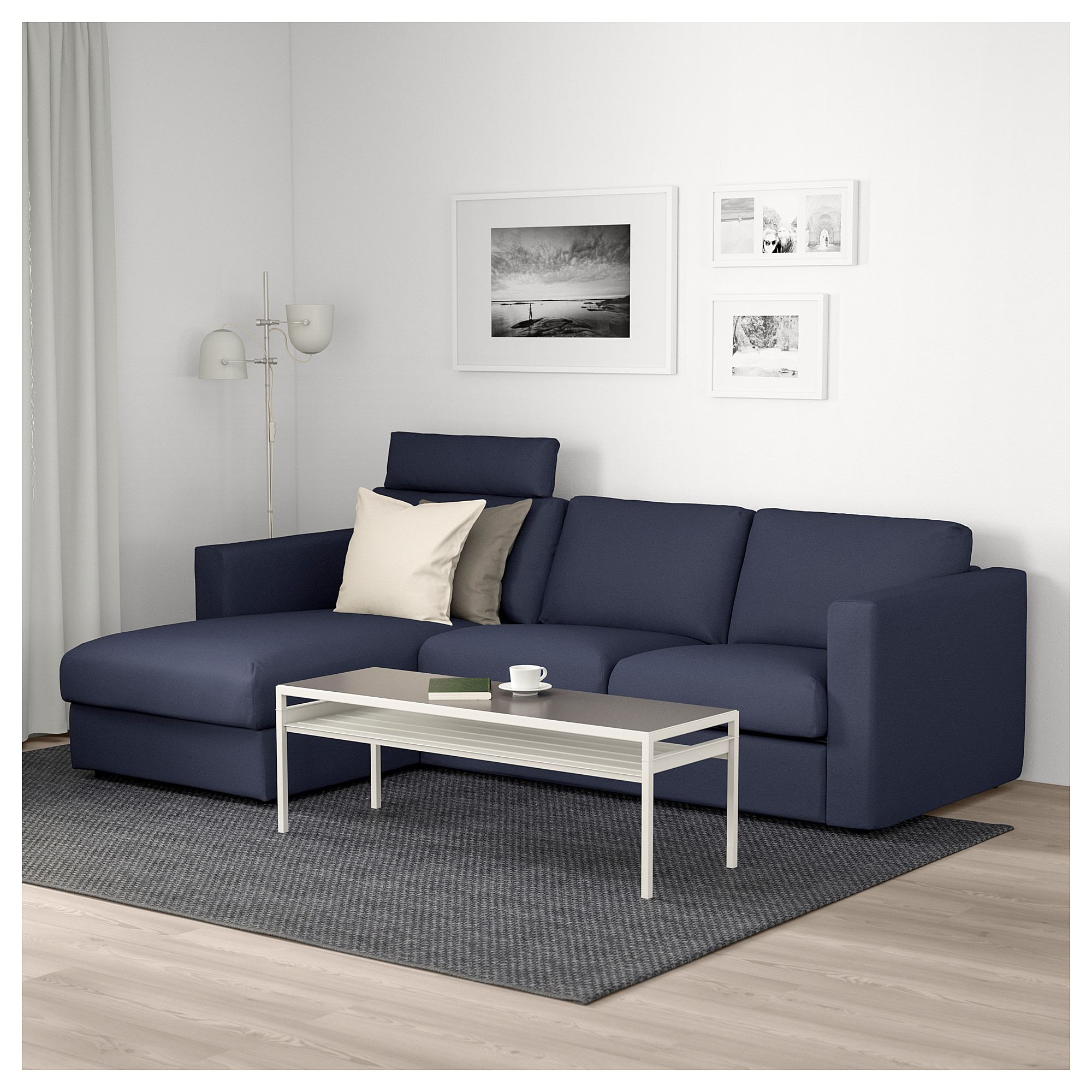 Mobly Sofa Chaise Vimle Sofa With Chaise With Headrest Orrsta Black Blue