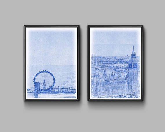 Blueprint set london big ben london eye travel england wall blueprint set london big ben london eye travel england malvernweather Images