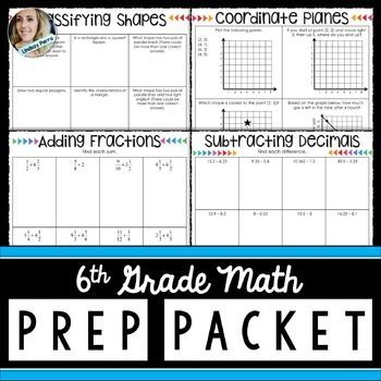 5th grade math review : 6th grade math prepThis versatile resource can be used in a variety of different ways. 6th grade math teachers can use it as a summer assignment for students who will be entering their class in the fall. 5th grade teachers can use it as an end of the year skills review.