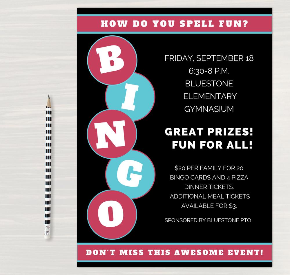 bingo night flyer template bingo and games night pinterest