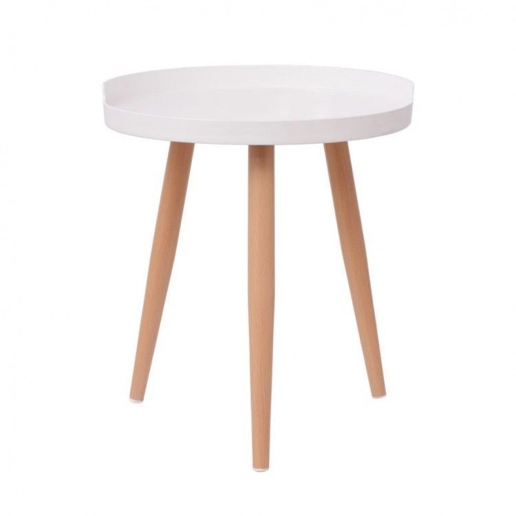 Small Side Table White Modern Round Coffee End Tables