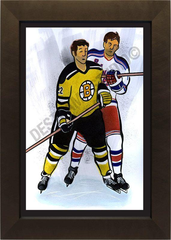 Boston Bruins Original Six Hockey Team By Destrampillustration 20 00 Hockey Teams Boston Bruins Nhl Hockey Teams