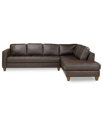 Milano Leather 2 Piece Chaise Sectional Sofa Macys Com Leather Sectional Sofa Leather Sectional Sofas Leather Sectional