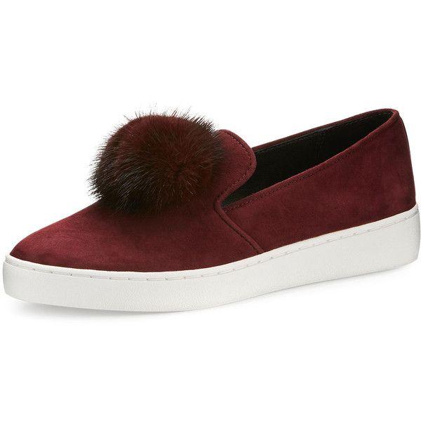 Michael Kors Eddy Mink Fur-Pompom Sneaker (£225) ❤ liked on Polyvore