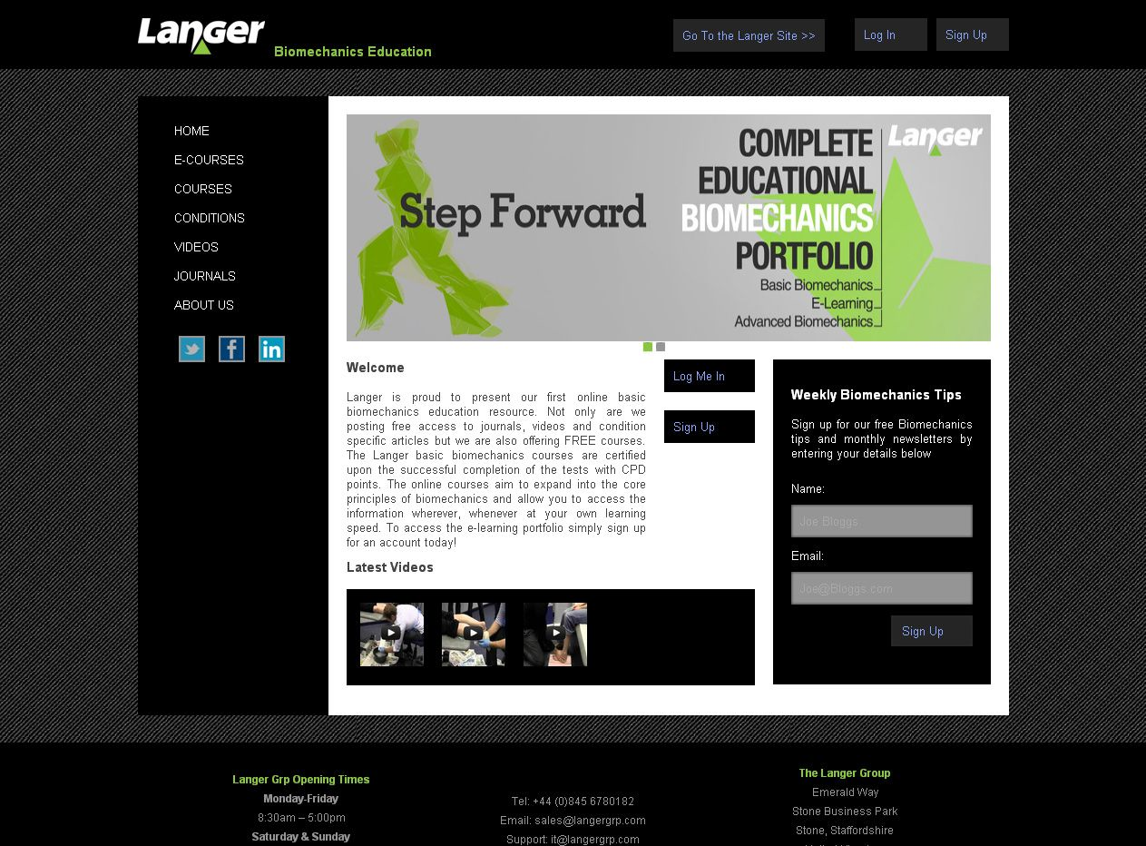 Langer Biomechanics Education Website | Free E-learning Centre - http://www.biomechanics-education.com