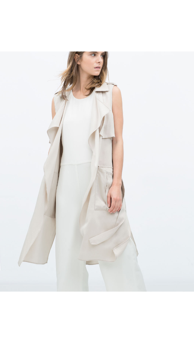 Gilet fluide long -Zara ( style Trench-coat sans manches)