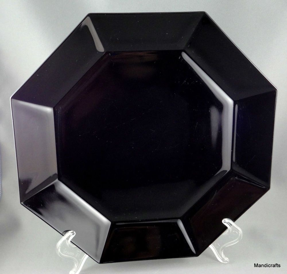 #Arcoroc France Dinner Plate #Octime 9.75 inches Black Glass Octagon Retired & Arcoroc France Dinner Plate Octime 9.75\