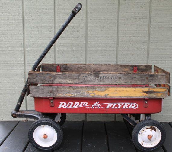 Vintage Radio Flyer Lil 39 Trav Lar Metal Wagon Rusty Rustic Wagon Wood Sides Metal Wagon Vintage Radio Radio Flyer