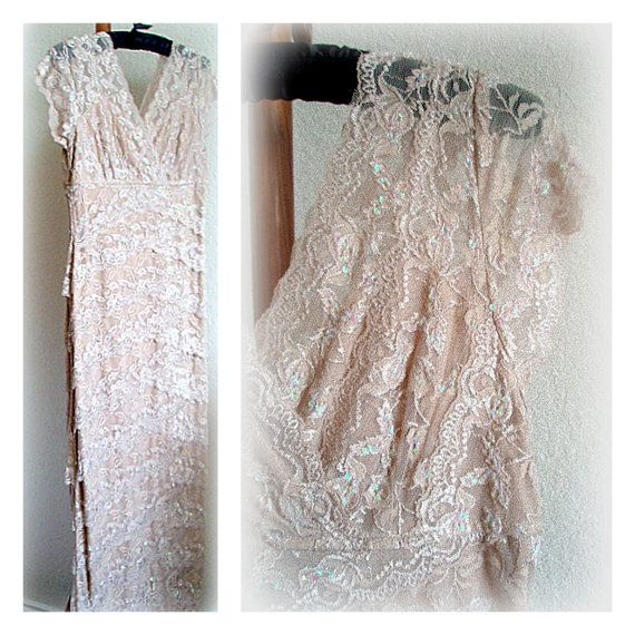 Vintage Lace Nude Dress Rehearsal Dinner Wedding Gown Floral