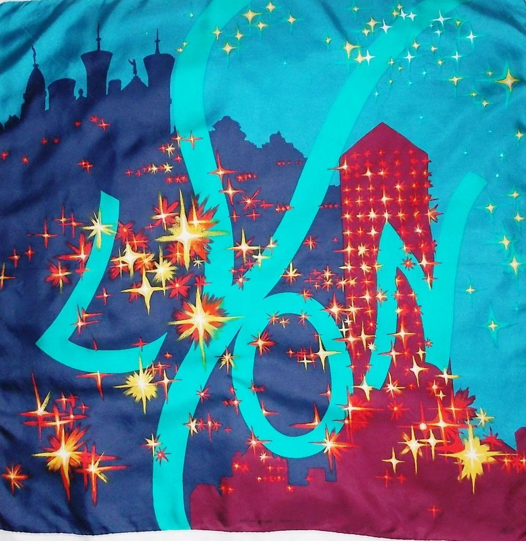 Foulard soie vintage AC Canova Lyon fête des lumières 1987   http   jeronine 1b66bf57d90