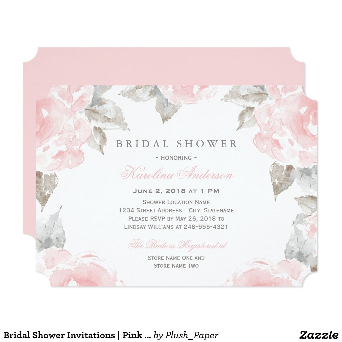 Bridal shower invitations pink watercolor roses elegant and bridal shower invitations pink watercolor roses elegant and romantic wedding bridal shower invitation design features filmwisefo Choice Image