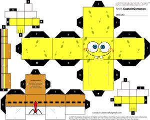 graphic about Printable Foldables named printable+foldables Spongebob cubee craft. Print, reduce