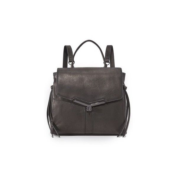 Botkier Valentina Backpack (280 CAD) ❤ liked on Polyvore featuring bags, backpacks, black, leather backpack, flap bag, botkier bags, pocket backpack and leather daypack