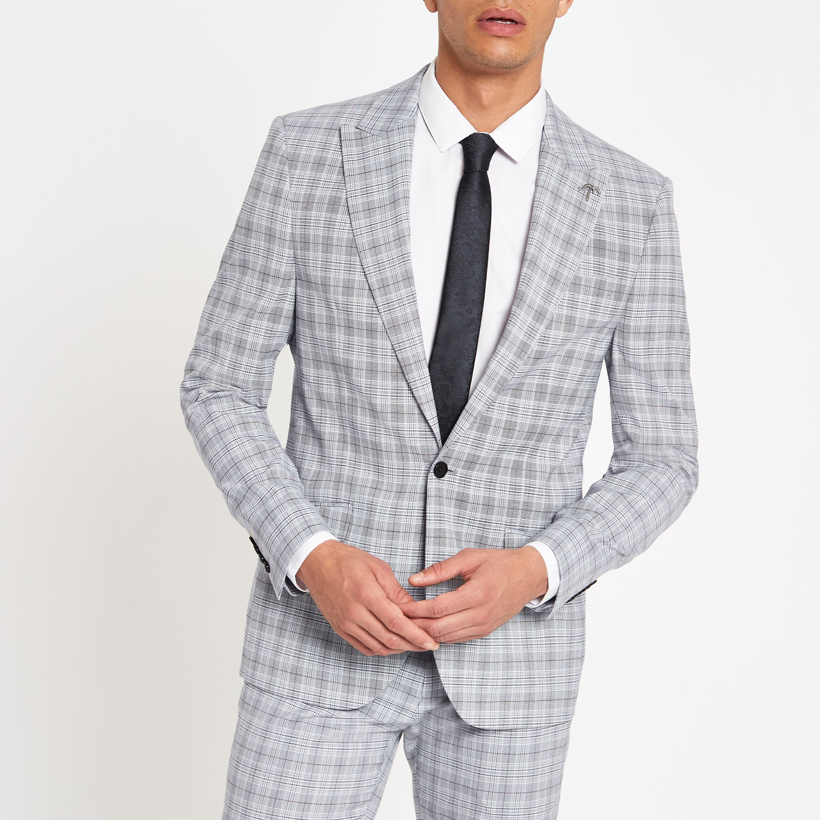 19b4fc97ffc059 JF JFerrar Blue Check Checked Slim Fit Stretch Suit Jacket in 2019