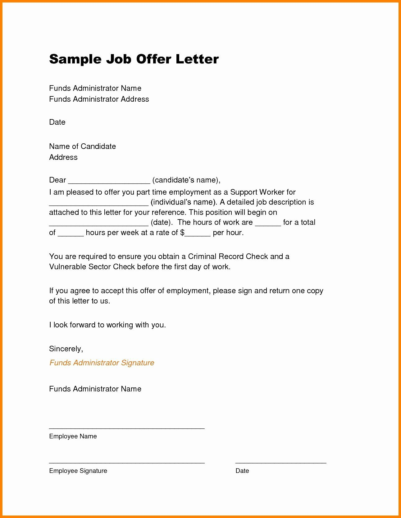 40 Job Offer Letter Example Lettering, Letter example