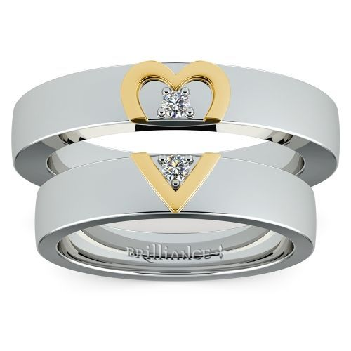Matching Split Heart Diamond Wedding Ring Set in White and Yellow Gold www.brilliance.co...