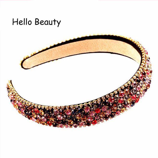 Korean Fashion Shining Women s Trendy Hair Accessories Jewelry Luxury  Colorful Crystal Rhinestone Headbands Hairband Review 692591f8e61e