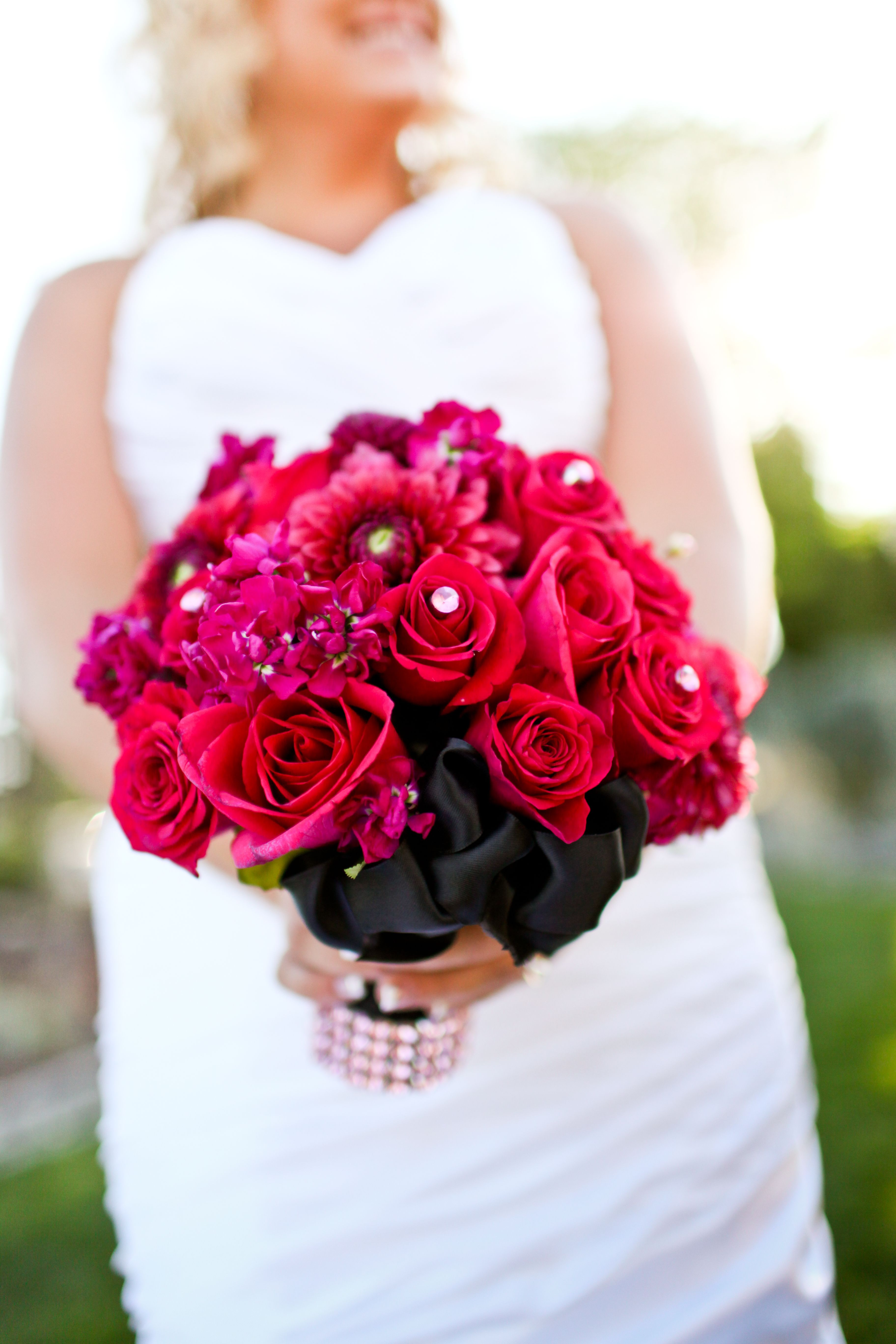 Hot pink bouquet wedding bouqet hot pink weddings
