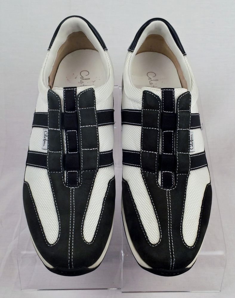 Cole Haan Nike Air Slip On Women's Black and White Leather/Mesh Size 8.5 b