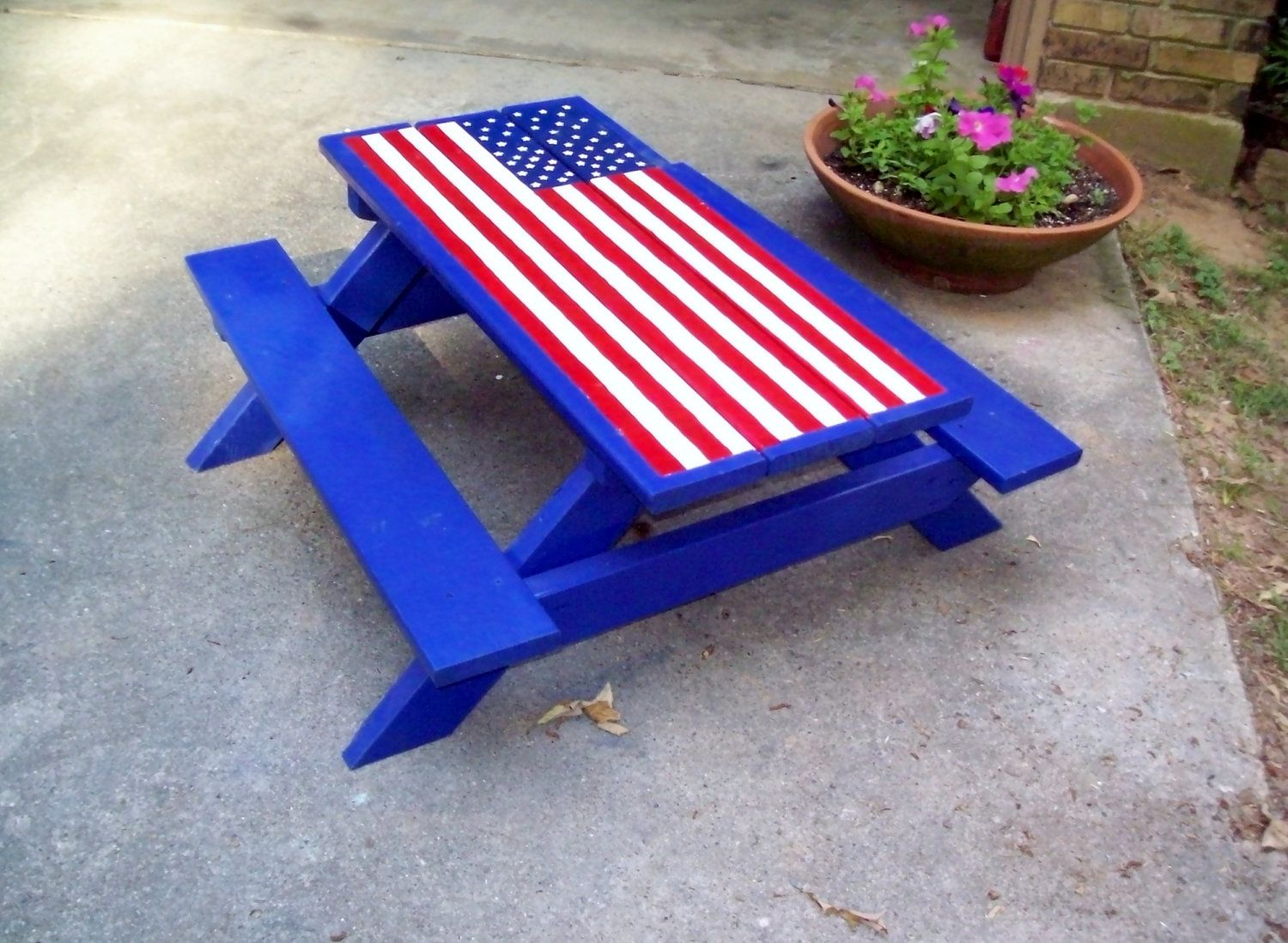 American Flag Painted On A Locker | Hand Painted Picnic Table American Flag  Child Size By