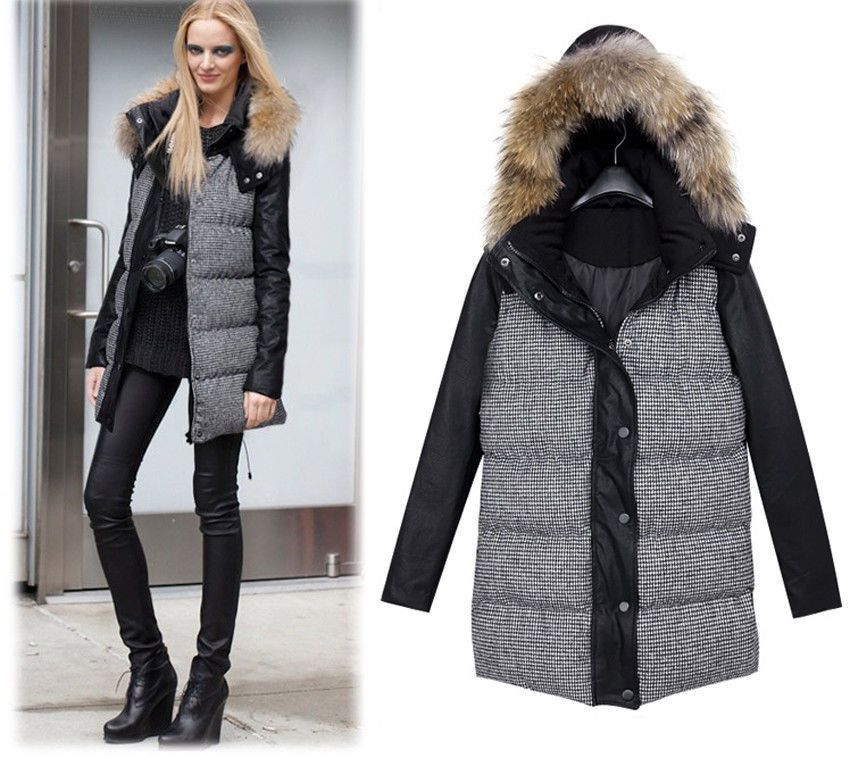Women lady grid Coat wool blend Long Jacket Slim Parka Outwear Winter Warm Vogue