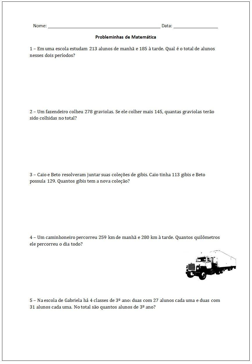 Adicao E Subtracao Probleminhas De Matematica Jpg 867 1254