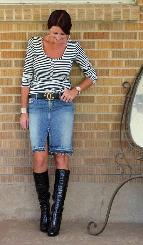 Denim skirt & Dsquared Croc boots