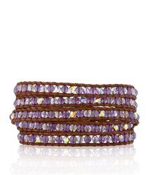 CHAN LUU Amethyst and Swarovski Crystal Wrap Bracelet on Natural Brown Leather