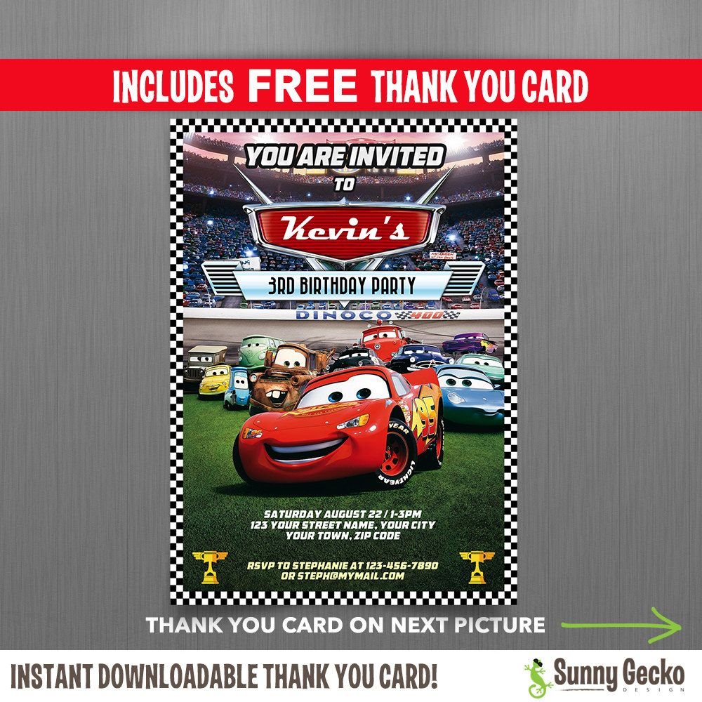 Disney Cars Lightning McQueen Birthday Invitation with FREE editable Thank you Card Instant