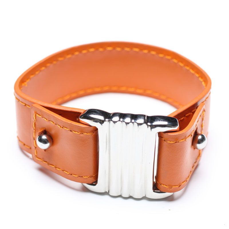 orange leather bangle with stainless steel clasp, 00569