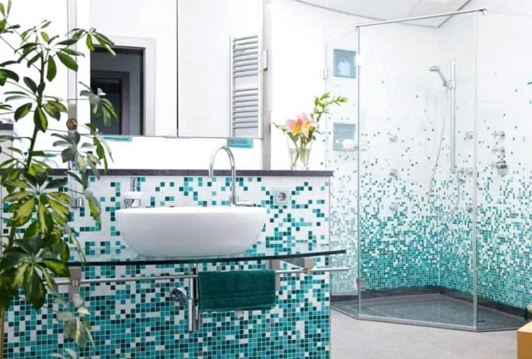 Modern Bathroom With Mosaic Tiles Design Ideas Modern Bathroom Tile Bathroom Bathroom Interior Design