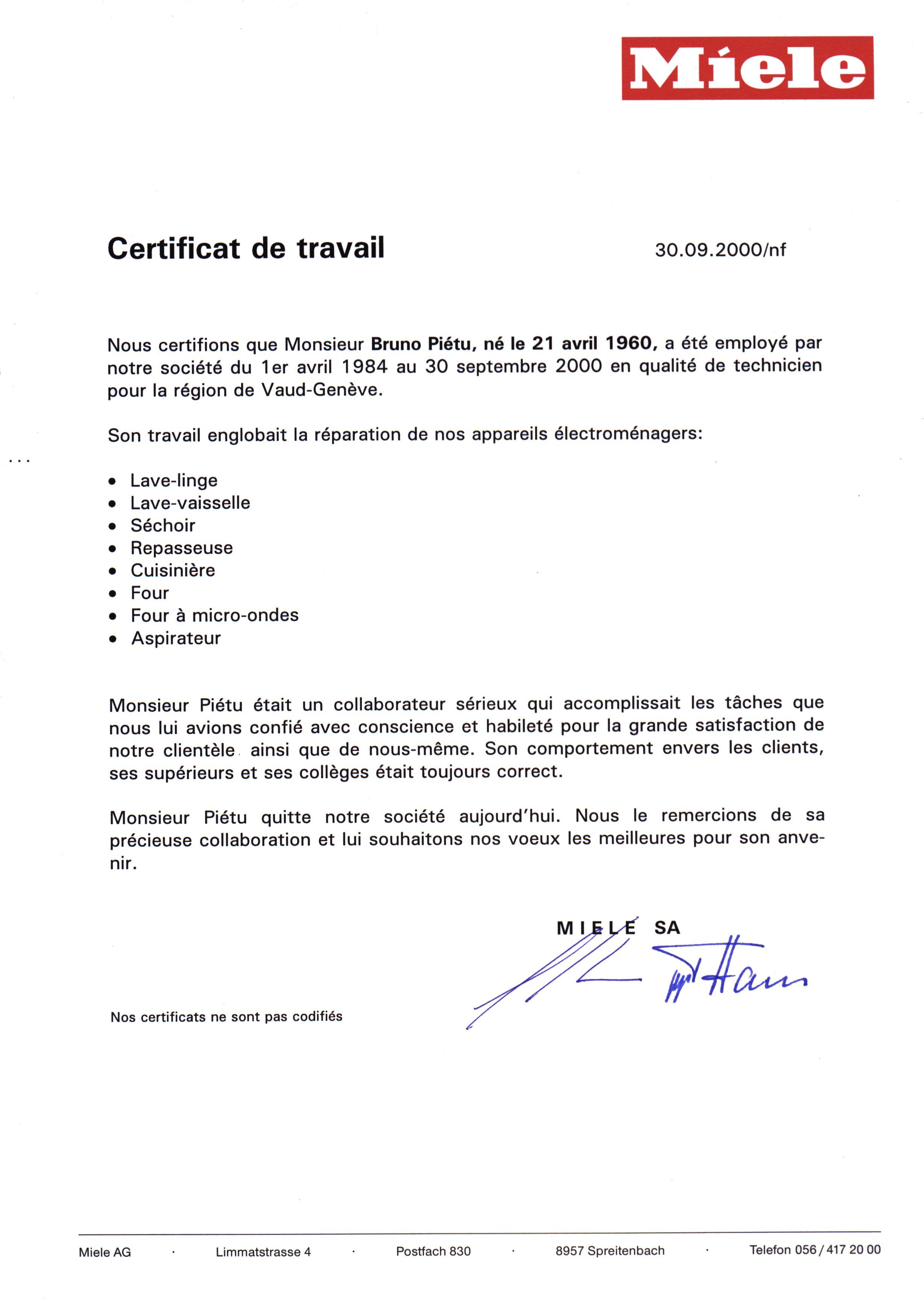 Exemple Certificat De Travail Mecanicien Certificat De Travail Certificat Travail