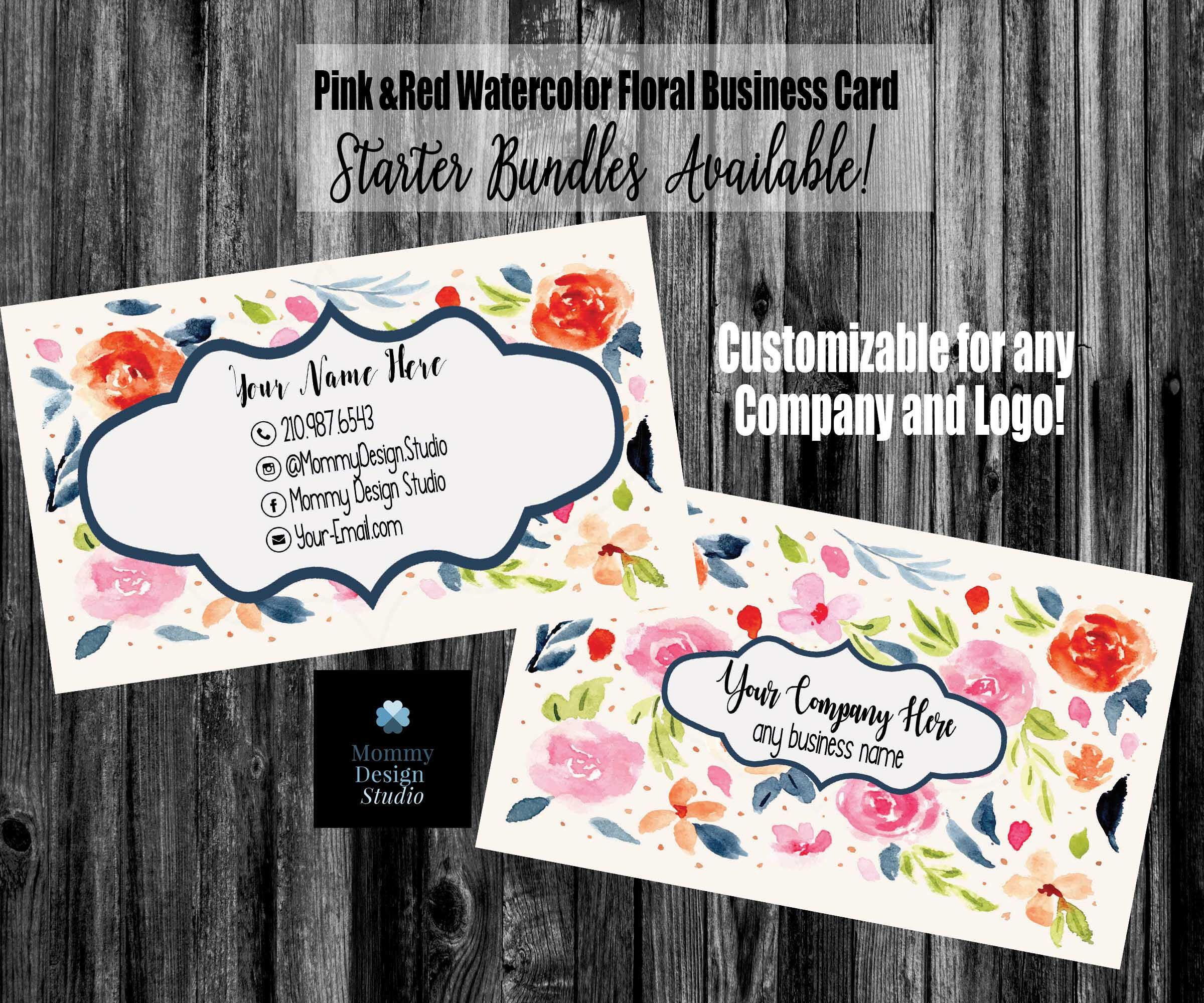 Pink and red watercolor floral business card ho approved compliant pink and red watercolor floral business card ho approved compliant fonts colors available reheart Choice Image