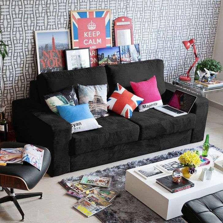 Sof 3 lugares retr til tiguan suede preto new house for Sofa 03 lugares retratil