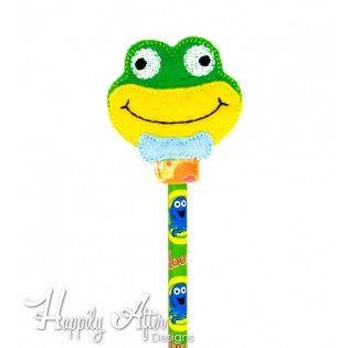 Dapper Frog Pencil Topper Embroidery Design
