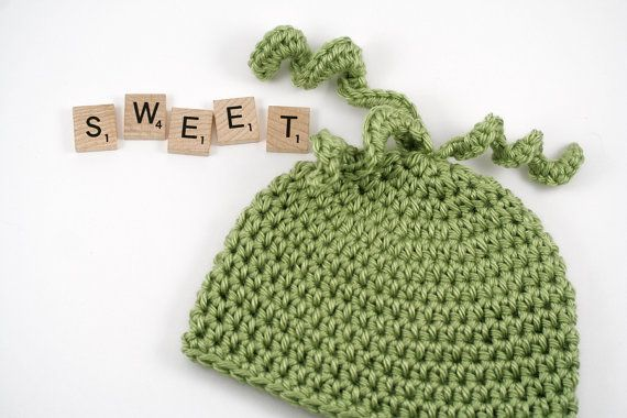 Sweet Pea Crochet Baby Hat // Green Pea Hat // by lauraanncrochet, $11.00