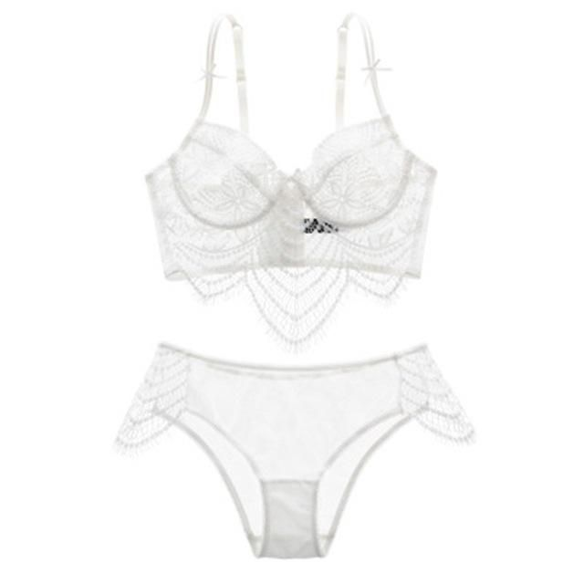 c2d176af3e Women Sexy Underwear Embroidery Sexy Lace Bra Transparent Ultra-Thin  Temptation Black And White Push Up Bra Set